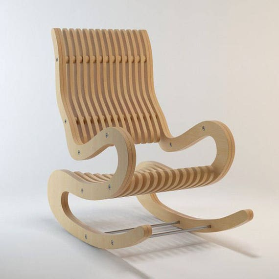 Cnc Furniture Vector Plan Rocking Chair For Cnc Woodwork Diy Cdr Digital Download