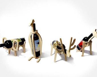 For woodwork wine rack animal friends :elephant, dog, pinguin, deer