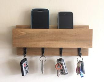Minimalist Wooden Wall Mount Entryway Organizer, Key and Mail Holder, Phone Storage, Mail Organizer