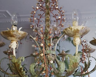 Costume Swarovski polychrome gold plated unique chandelier