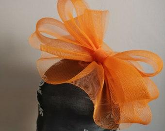 orange feather fascinator millinery burlesque headband wedding hat hair  piece 8795ced9831