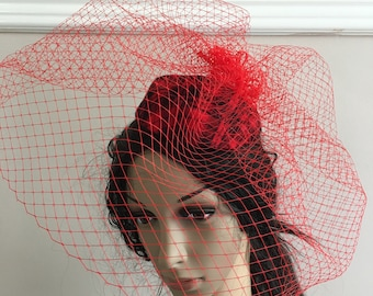 bright red satin flower fascinator millinery burlesque wedding hat bridal race