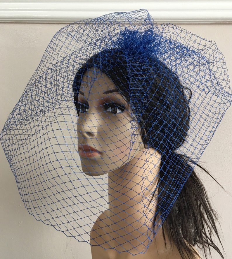 7059bd52 Royal blue french veil veiling fascinator millinery burlesque | Etsy