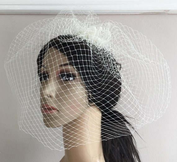 07e643a8 ivory off white french veil veiling fascinator millinery burlesque hair  clip hen party bridal ascot race