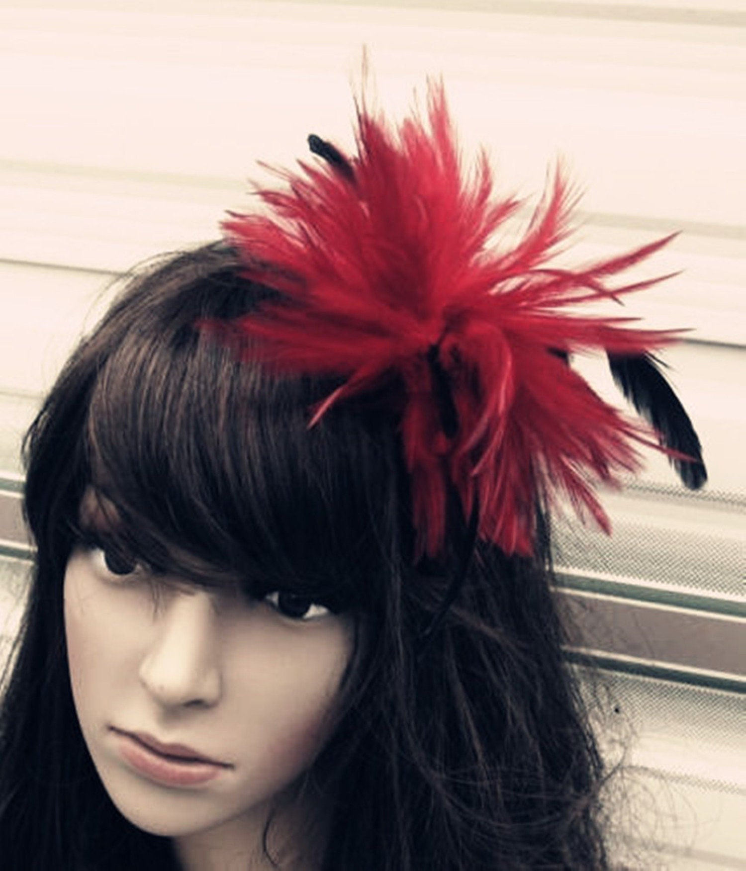 Red Black Feather Fascinator Millinery Burlesque Hair Clip Brooch
