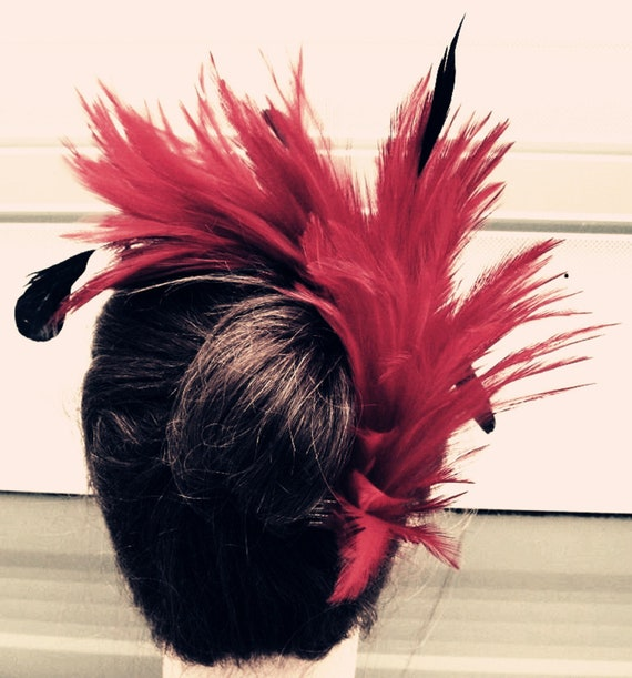 black feather headband fascinator hair band wedding bridal race party ascot 1