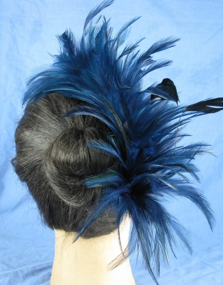 65a6785e navy blue black feather comb fascinator millinery burlesque hair clip hen party  bridal ascot race fancy dress british
