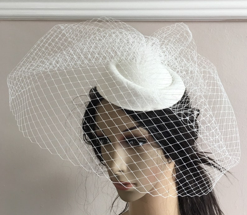 bb39ab90c7a97 Pill box hat off white ivory french veil veiling fascinator