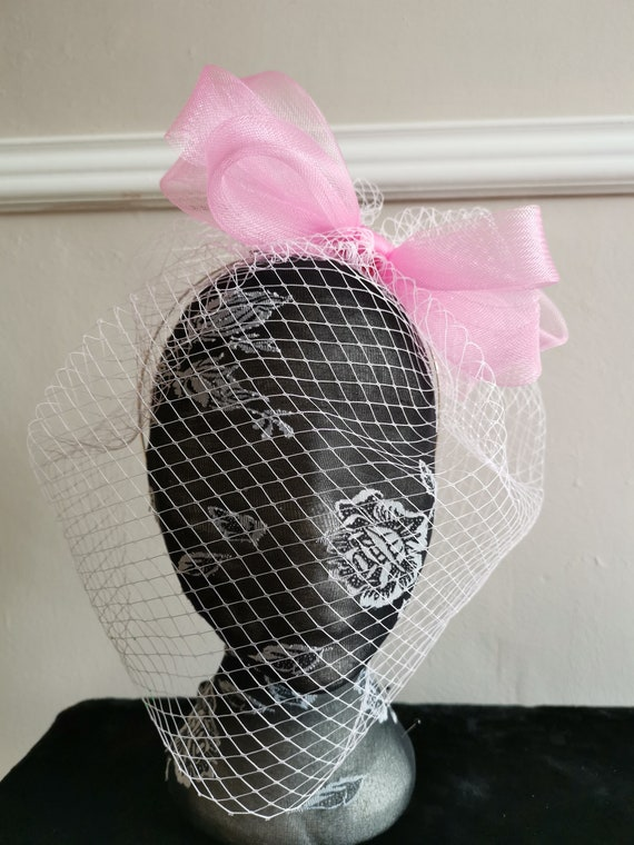 cerise hot pink fascinator millinery burlesque headband wedding hat hair piece