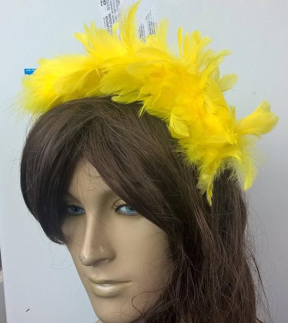 white feather headband fascinator headpiece wedding party race ascot
