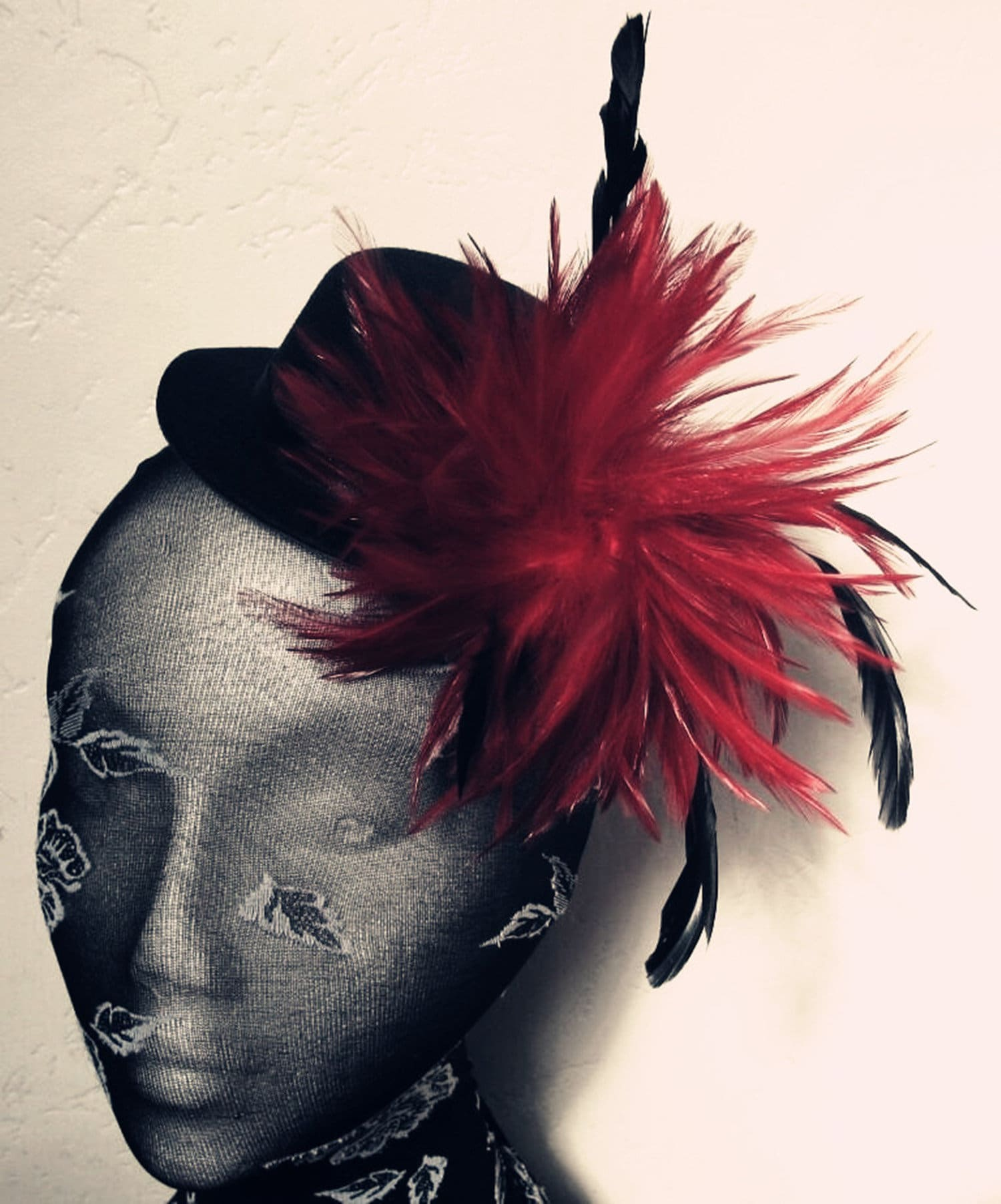 red feather black mini top hat fascinator millinery burlesque wedding ascot race