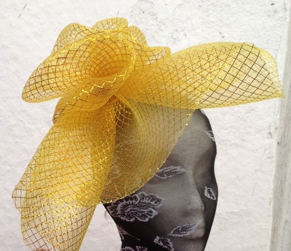 yellow fascinator millinery burlesque headband wedding hat hair piece ascot race