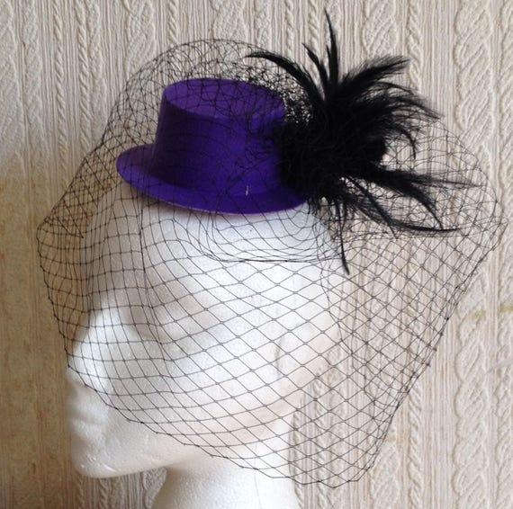 purple mini top hat fascinator millinery burlesque wedding hen party fancy dress