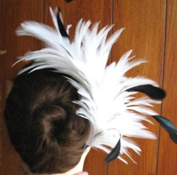 pink black feather fascinator comb hair clip headpiece wedding party piece