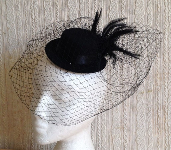 black feather french veil veiling mini top hat fascinator  cea5b3735d3