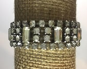 Estate Vintage Deco Elegant Baguette Cut Clear Rhinestone Bracelet