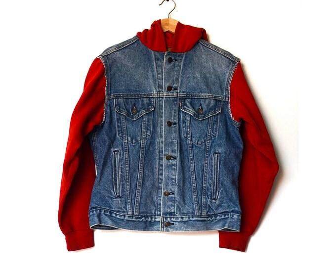 vintage denim + red hoodie jacket