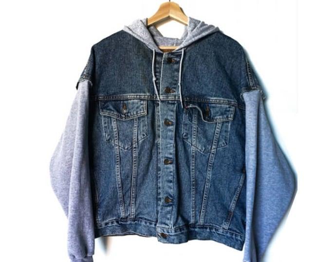 men's vintage denim + Champion hoodie jacket