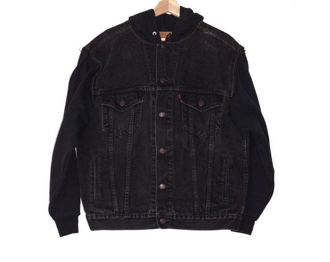 vintage denim + hoodie jacket