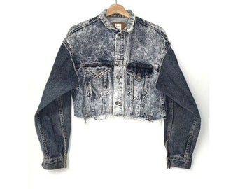 women's oversized cropped denim jacket