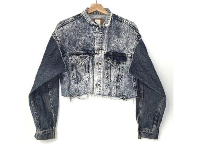 women's oversized cropped denim jacket