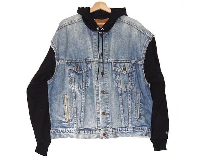 vintage denim + Champion hoodie jacket