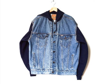 men's vintage denim + hoodie jacket