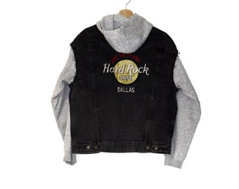 vintage Hard Rock Cafe denim +  hoodie jacket
