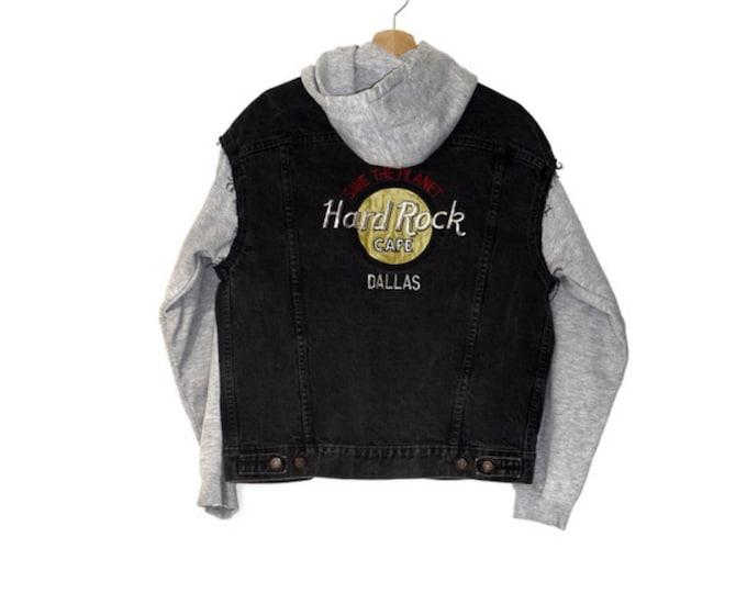 vintage Hard Rock Cafe denim +  hoodie jacket