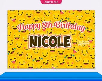 Emoji Party Backdrop Birthday Supplies Decorations Theme Printable
