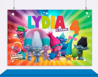 Trolls Birthday Banner Printable Party Poster Troll Supplies Backdrop