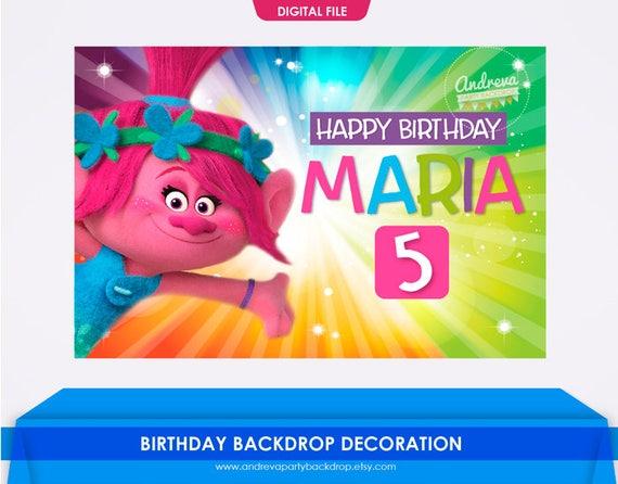 Trolls Backdrop Personalize Printable Trolls Backdrop Birthday Trolls Banner Digital File