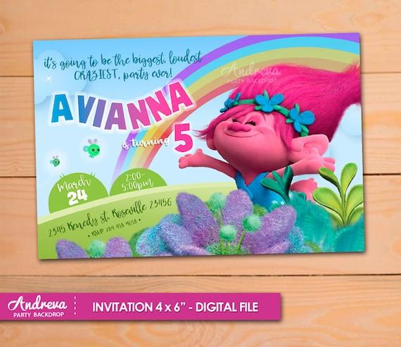 trolls birthday invitation trolls invitation trolls poppy etsy