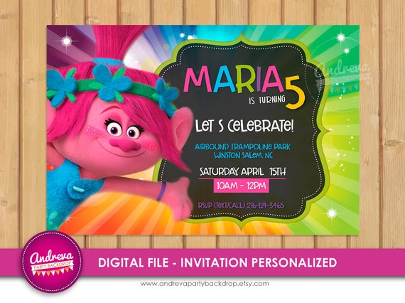 Trolls Birthday Invitation Poppy