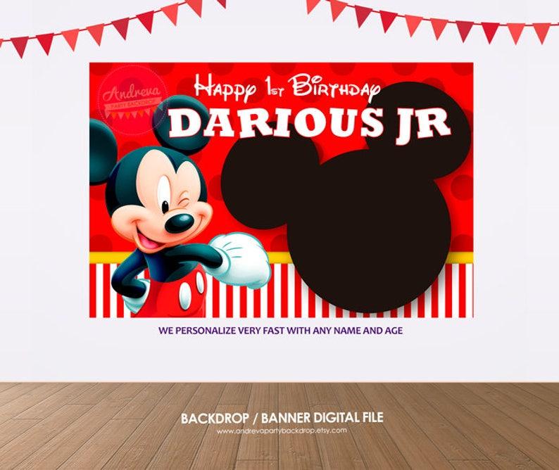 Mickey Mouse Sullo Sfondo Bandiera Di Compleanno Di Topolino Etsy
