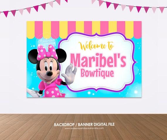 Minnie Mouse Birthday Banner Minnie Bowtique Party Minnie Boutique Banner Minnie Mouse Party First Birthday Decor Baby Girl Birthday