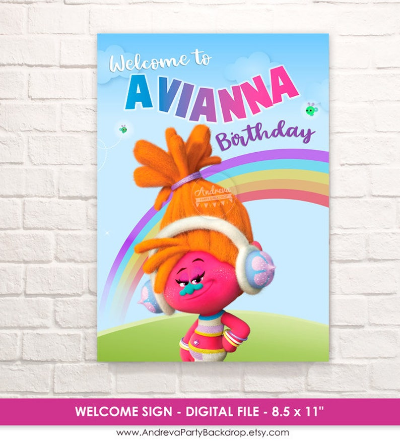 Trolls Welcome Sign Birthday Party Printable