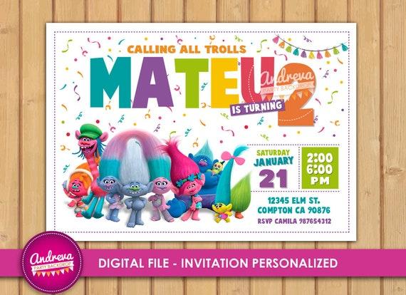 printable trolls birthday invitations trolls invitations etsy