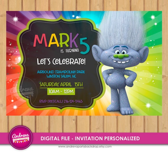 Trolls Birthday Invitation Guy