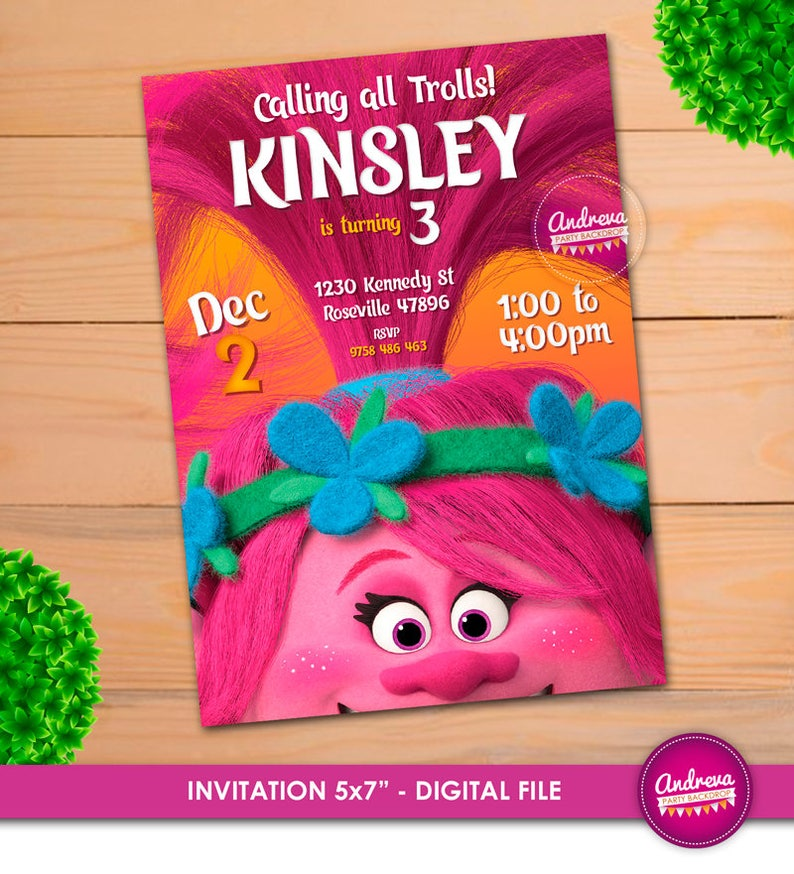 Trolls Invitation Birthday Poppy