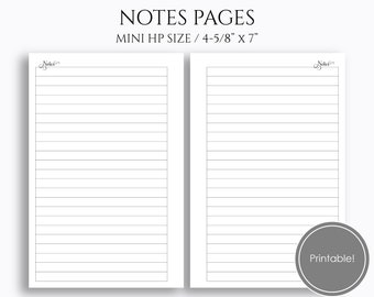 Lined Notes Pages Printable Planner Inserts Medium College