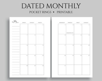 picture regarding Printable Pocket Calendars named July 2019 Dec 2020 Dated Month to month Calendar Printable Planner