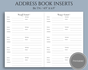 address book printable planner inserts personal business etsy
