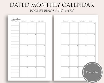 july dec 2018 dated monthly printable planner inserts monday start monthly calendar pages pocket rings 32 x 47 pdf download