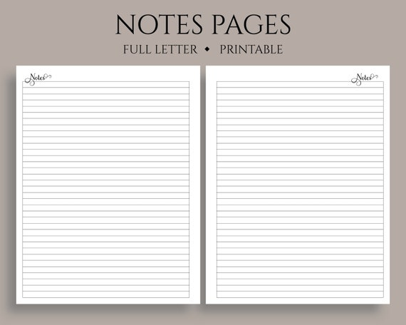 Lined Notes Pages Printable Planner Inserts Medium College Ruled Filler Paper Printable Full Letter 8 5 X 11 Pdf Download
