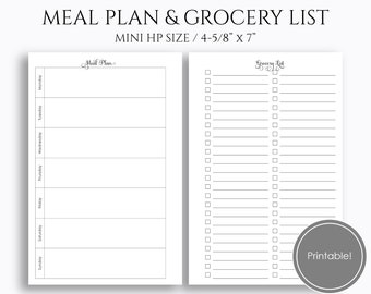 """Weekly Meal Planning and Grocery Shopping List, Printable Planner Inserts, Dinner Plan ~ Mini Happy Planner / 4.6"""" x 7"""" PDF Download (MPGL)"""