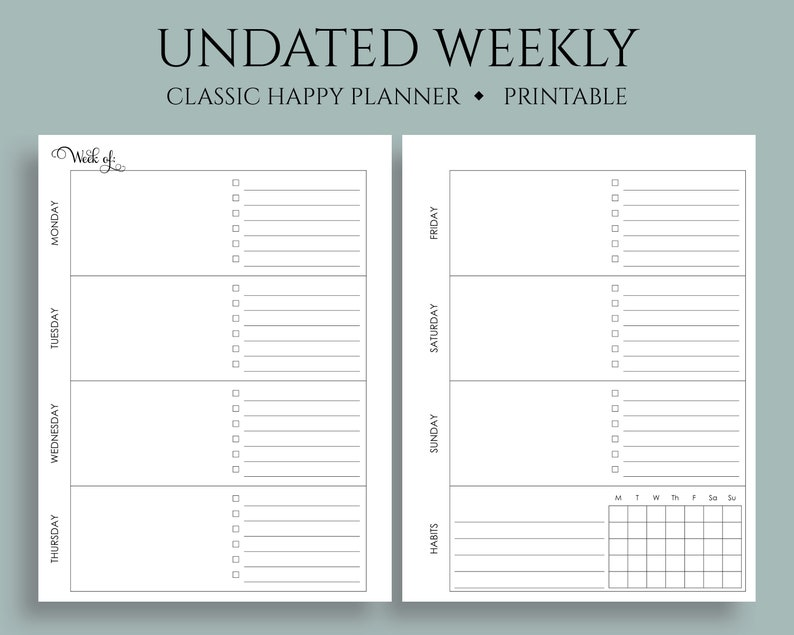 photograph relating to Printable Planner Inserts named Undated Weekly Printable Planner Inserts, Horizontal WO2P w/ In the direction of Do Checklist, Routine Tracker ~ Clic Content Planner 7\
