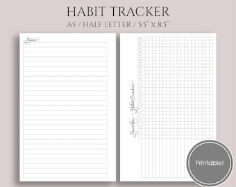 """Monthly Habit Tracker Printable Planner Inserts, Goal and Task Tracker Boxes, Habit Building Reminder ~ A5 / 5.5"""" x 8.5"""" Instant Download"""