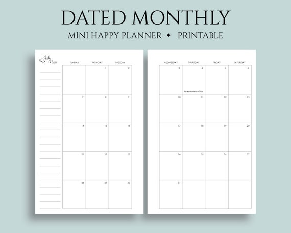 photograph about Printable Monthly Calendar Dec called July 2019 - Dec 2020 Dated Month to month Calendar Printable Planner Inserts, Sunday Start out, MO2P, US Vacations ~ Mini Pleased Planner / 4.6\