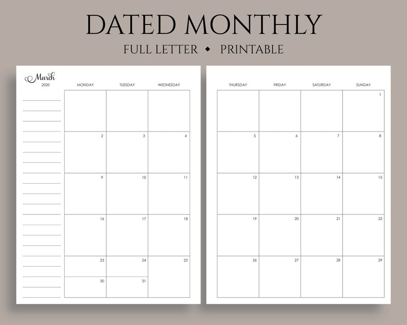 2020 Dated Monthly Calendar Printable Planner Inserts, Monday Start, MO2P,  U S  Holidays ~ Full Letter / 8 5